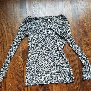 Sheer leopard long sleeve shirt from express